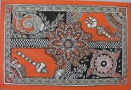 shanti samvridhi and shakti by Abha Jha, Folk Painting, Pen, pencil, watercolour on paper, Brown color