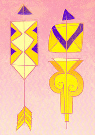 Arrow 11 by KS Guruprasad, Geometrical Digital Art, Digital Print on Archival Paper, Pink color