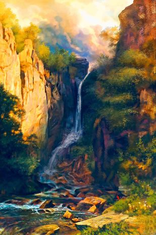 Picturesque Waterfall Digital Print by The Print Studio,Digital