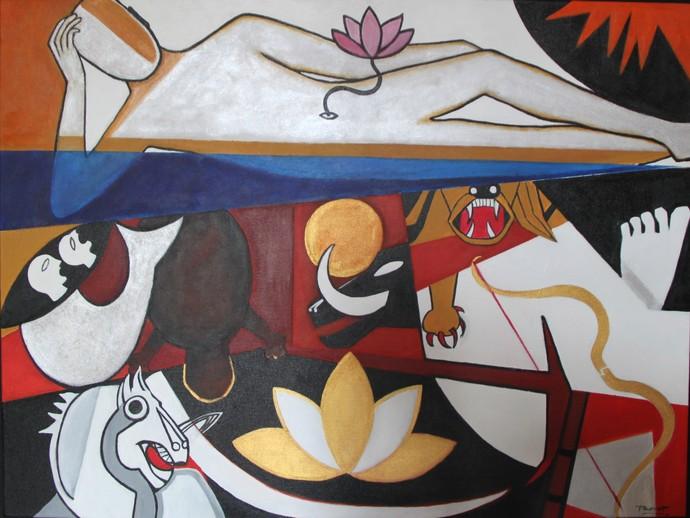 Dashavatara 2 by Pratap SJB Rana, Expressionism Painting, Acrylic on Canvas, Brown color