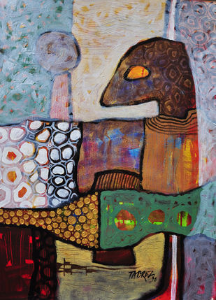Village Mystery IV by Tabrez Hassan Ansari, Expressionism Painting, Acrylic on Paper, Brown color