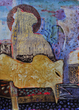 Village Mystery V by Tabrez Hassan Ansari, Expressionism Painting, Acrylic on Paper, Brown color