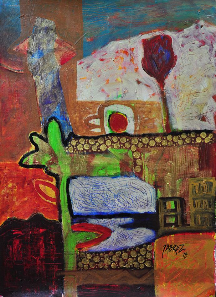Village Mystery VI by Tabrez Hassan Ansari, Expressionism Painting, Acrylic on Paper, Brown color