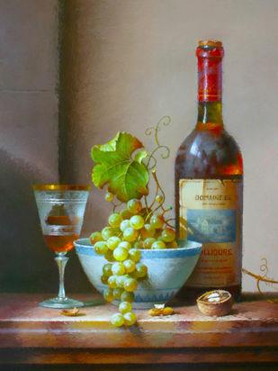 Still Life - Wine Bottle and Grapes Digital Print by The Print Studio,Digital
