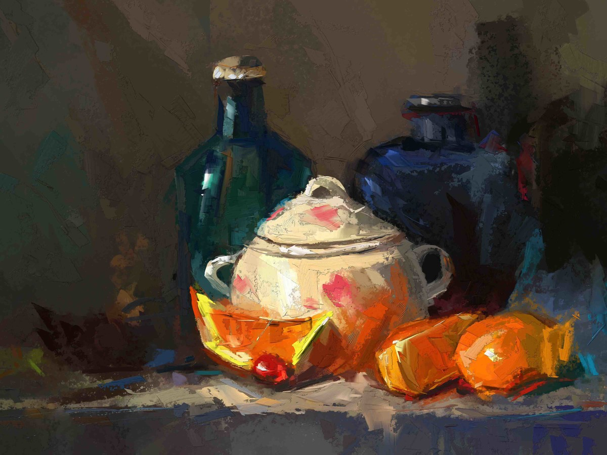 Still Life with Oranges Digital Print by The Print Studio,Digital
