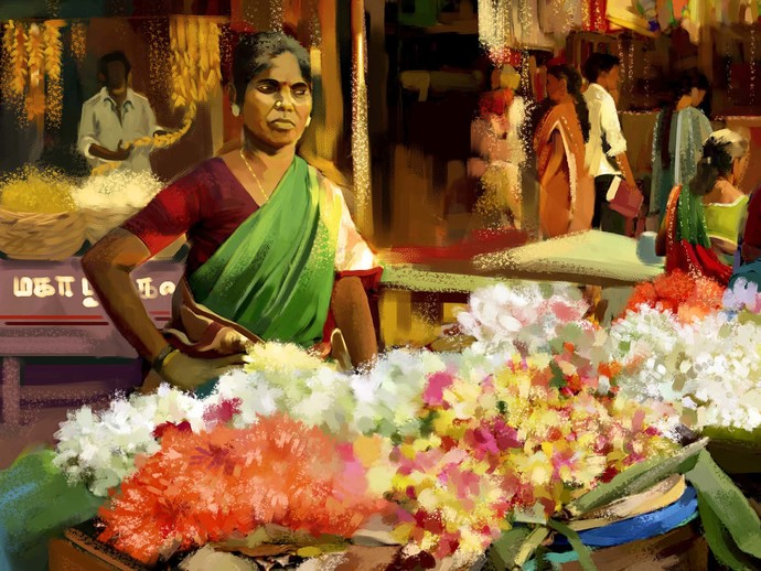 Market- Flower Seller Digital Print by The Print Studio,Digital