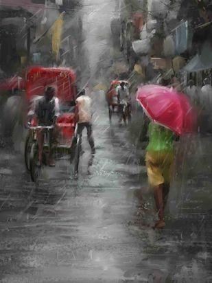 Red Umbrella Digital Print by The Print Studio,Digital