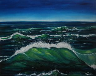 Emerald Waves by Shveta Saxena, Expressionism Painting, Acrylic on Canvas, Blue color