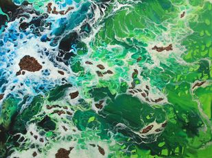 Ocean Hues by Shveta Saxena, Expressionism Painting, Acrylic on Canvas, Green color