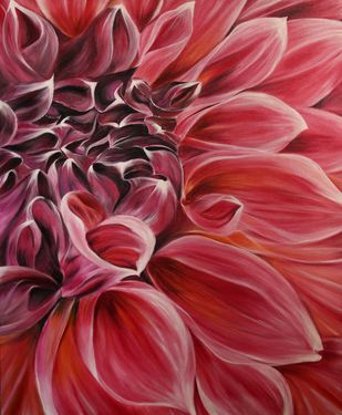 Dahlia by Shveta Saxena, Realism Painting, Acrylic on Canvas, Brown color