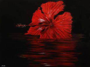 Hibiscus by Shveta Saxena, Realism Painting, Acrylic on Canvas, Black color