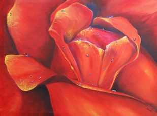 Roses are Red by Shveta Saxena, Realism Painting, Acrylic on Canvas, Brown color