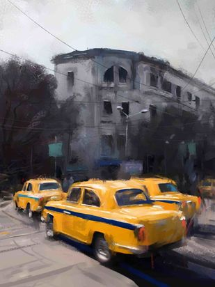 Yellow Taxi- 20 Digital Print by The Print Studio,Digital