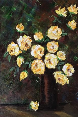 Yellow roses Digital Print by Anjali mittal,Expressionism