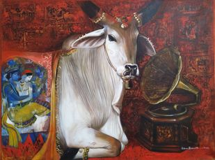 nostalgia by Jiban Biswas, Photorealism Painting, Acrylic on Canvas, Brown color