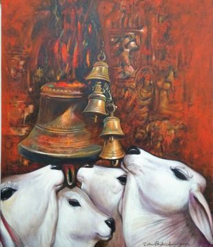 nostalgia by Jiban Biswas, Expressionism Painting, Acrylic on Canvas, Brown color