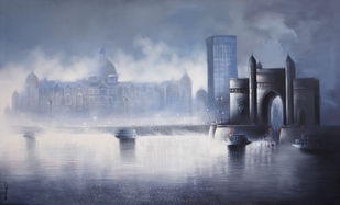 Gateway of India by Somnath Bothe, Impressionism Painting, Charcoal on Canvas, Blue color
