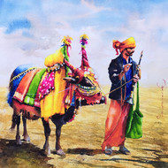 Gangireddu with Master (4) by Jeyaprakash M, Impressionism Painting, Watercolor on Paper, Brown color