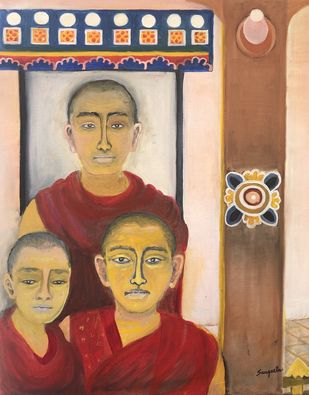 Seekers by Sangeeta B. Sahay, Expressionism Painting, Oil on Canvas, Brown color