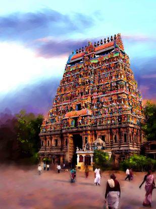 Mystical Gopuram Digital Print by The Print Studio,Digital