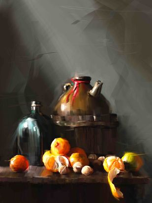 Kettle with oranges Digital Print by The Print Studio,Digital