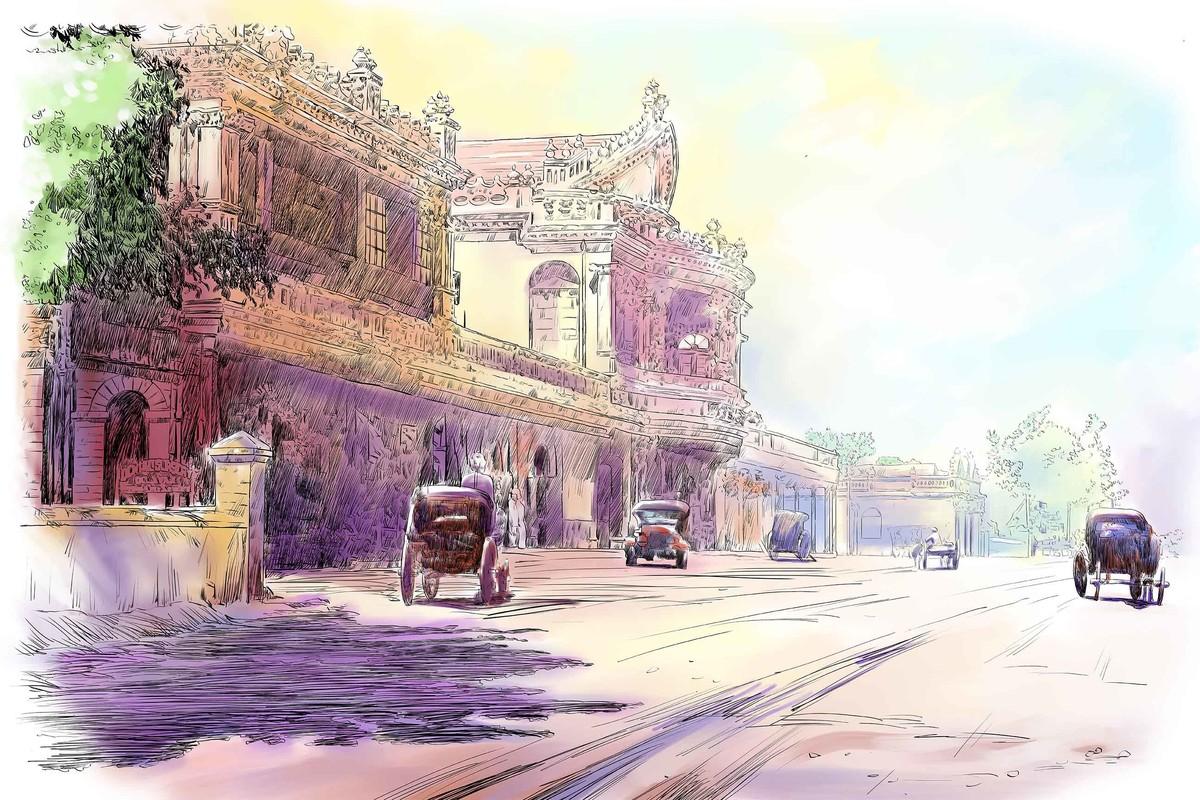 South Parade Road- Old Bengaluru Digital Print by The Print Studio,Digital