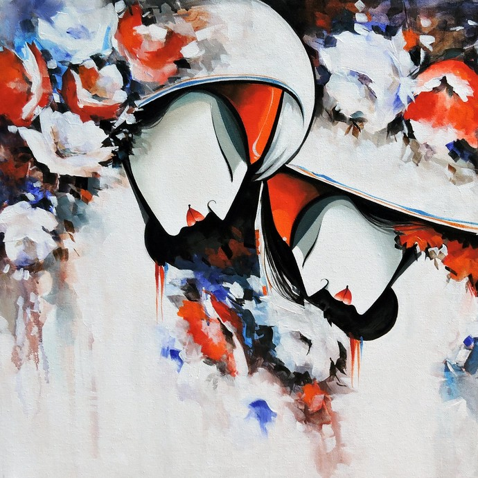love in bloom2 by pradeesh k raman, Decorative Painting, Acrylic on Canvas, Gray color