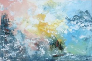 Harbour by Tvesha Singh, Abstract Painting, Acrylic on Canvas, Cyan color