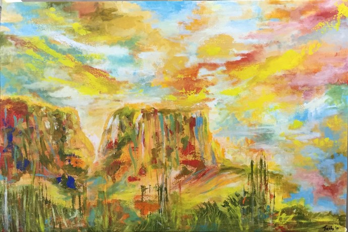 Desert Sky by Tvesha Singh, Abstract Painting, Acrylic on Canvas, Beige color
