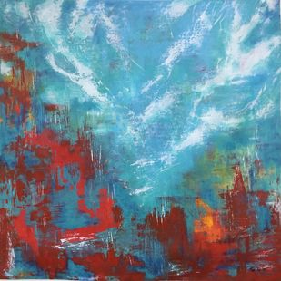 Unravel by Tvesha Singh, Abstract Painting, Acrylic on Canvas, Cyan color