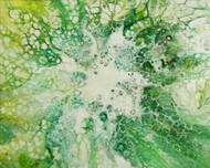 BLOOM 12 by kakali sanyal, Abstract Painting, Acrylic on Canvas, Green color