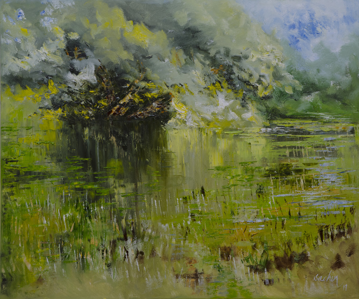green lake - from reflections series by Sachin Upadhye, Abstract Painting, Oil on Canvas, Green color