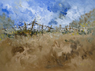 hedges by Sachin Upadhye, Impressionism Painting, Oil on Canvas, Brown color
