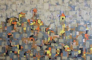 oil on canvas by Karishma Wadhwa, Geometrical Painting, Oil on Canvas, Brown color