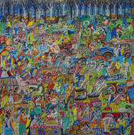 rural india market Digital Print by Arun K Mishra,Expressionism