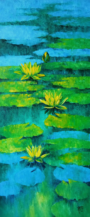 Waterlilies - 104 by Swati Kale, Impressionism Painting, Oil on Canvas, Green color