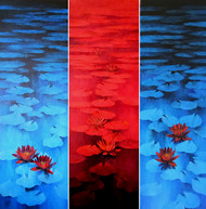 Waterlilies - My Space by Swati Kale, Impressionism Painting, Oil on Canvas, Blue color