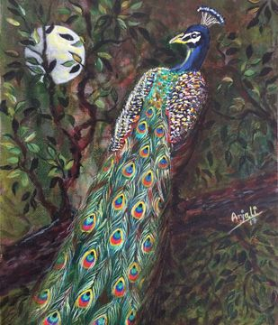 No title by Anjali mittal, Impressionism Painting, Acrylic on Canvas, Green color