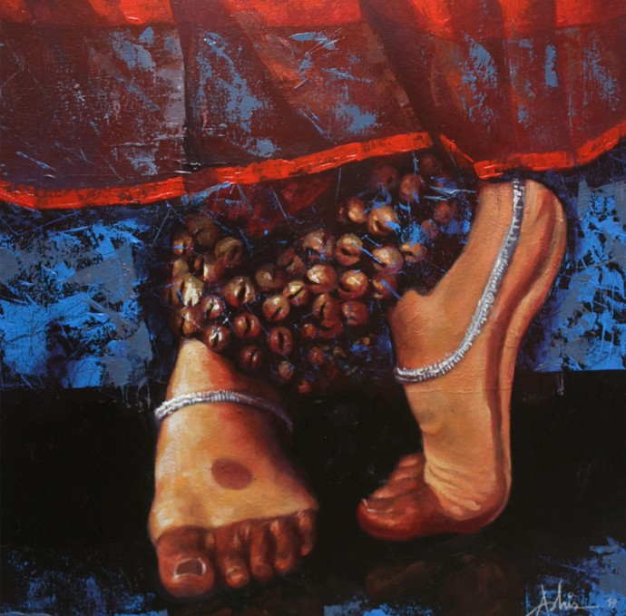 Bharatanatyam VIII by Ashis Mondal, Expressionism Painting, Acrylic on Canvas, Brown color