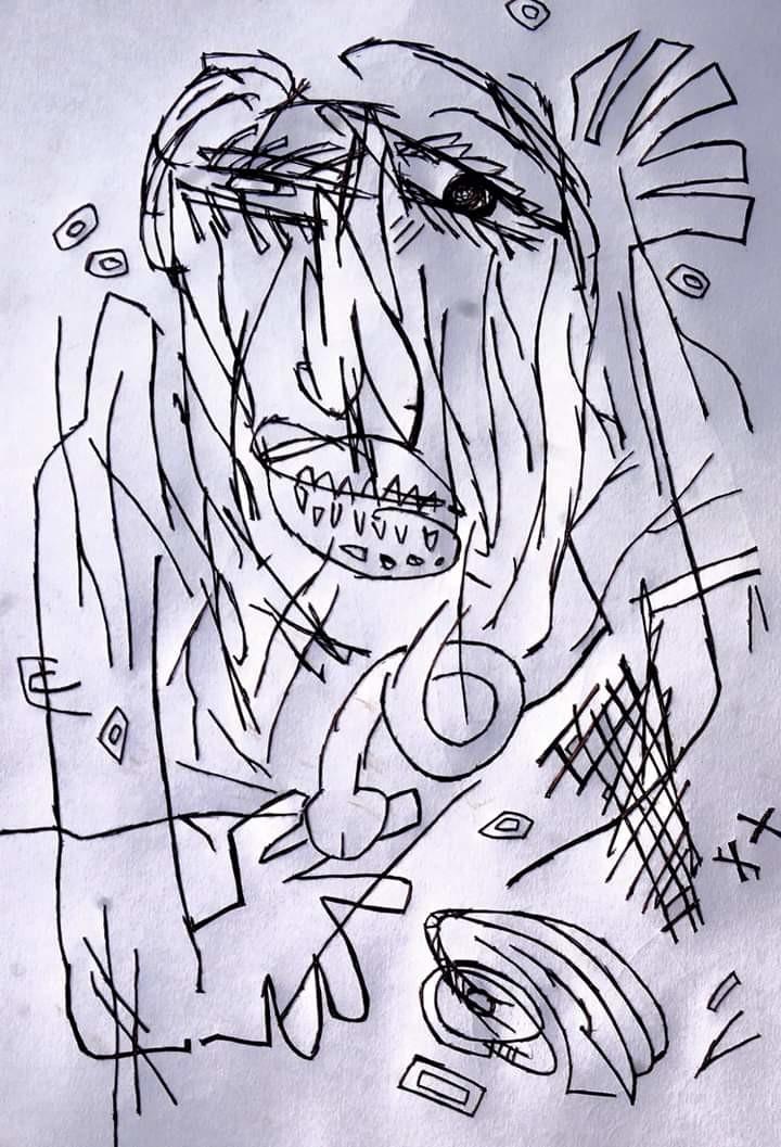 Self-portrait by Manoj Kumar Negi, Illustration Drawing, Pen on Paper, Pink color
