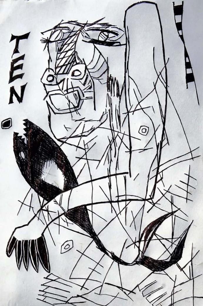 Self-portrait by Manoj Kumar Negi, Illustration Drawing, Pen on Paper, Gray color