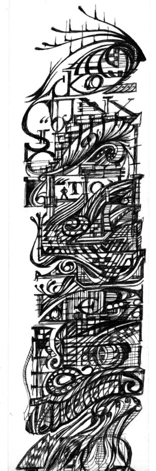 Line Flow 5 by Sudeep, Illustration Drawing, Pen on Paper, Gray color