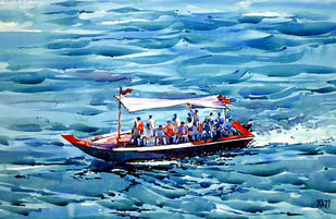 TRAVELERS by Raji Pavithran, Impressionism Painting, Watercolor on Paper, Cyan color