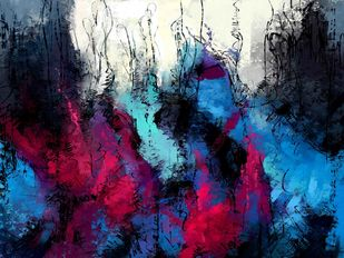 Blue Abstract Digital Print by The Print Studio,Abstract