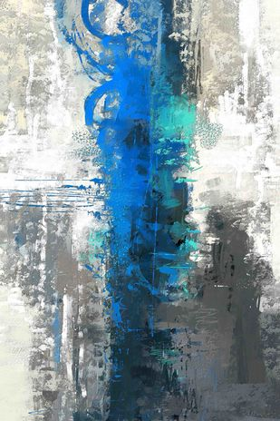 Grey Blue Strokes Digital Print by The Print Studio,Abstract