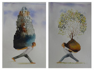 Seeds by Sunil Lohar, Impressionism Painting, Watercolor on Paper, Gray color