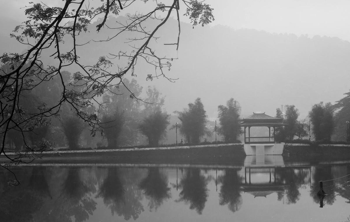 Misty morning by Ranjith Mehenderkar, Image Photography, Digital Print on Flex, Gray color