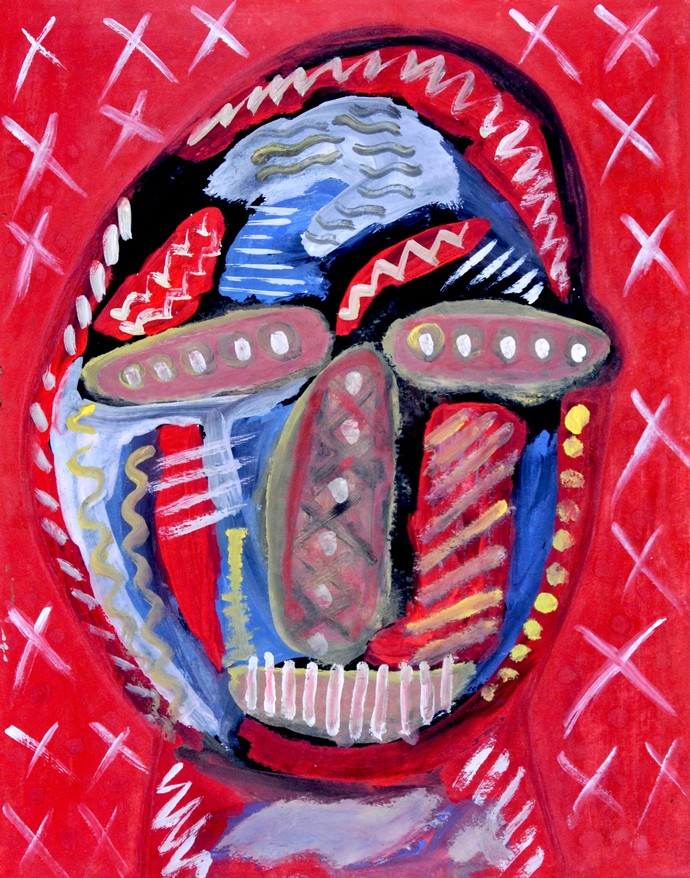 Portrait of Opalina by Manoj Kumar Negi, Expressionism Painting, Tempera on Paper, Purple color