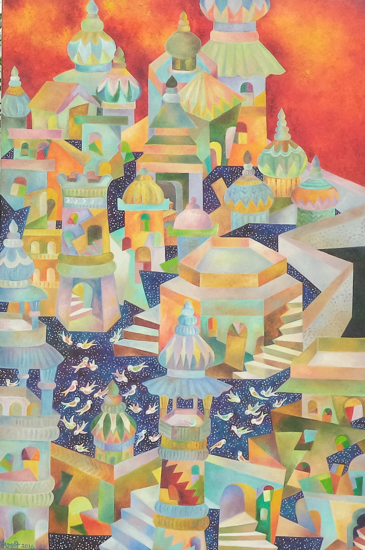 Oriental dawn by Chaitali Chatterjee, Expressionism Painting, Oil on Canvas, Beige color