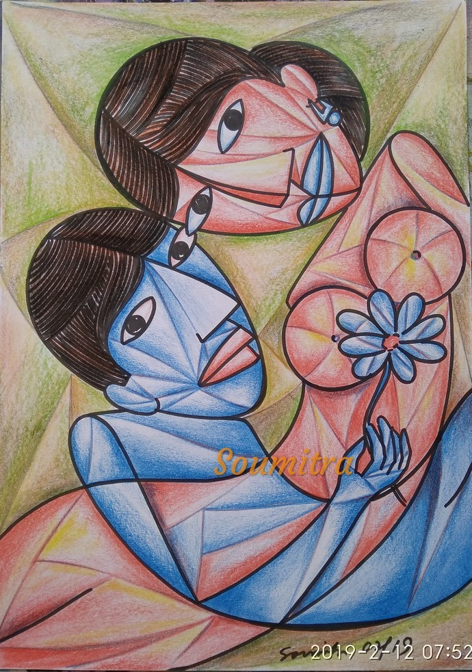 Intimacy by Soumitra Dutta, Illustration Drawing, Pastel on Paper, Brown color